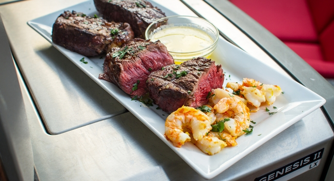 Filet Mignon with Garlicky Shrimp