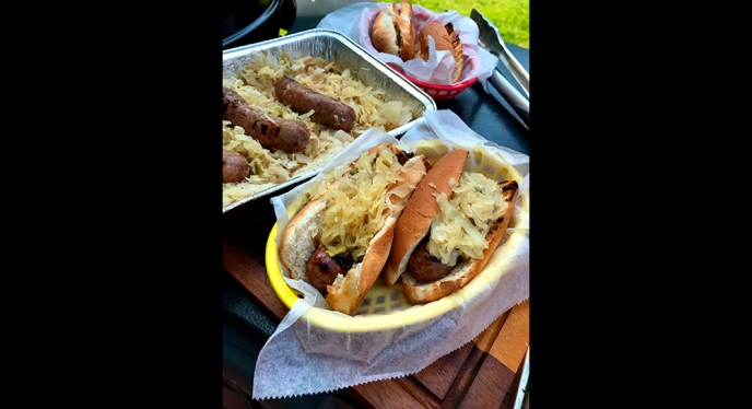 Beer Brats with Sauerkraut, Onions and Jalapenos