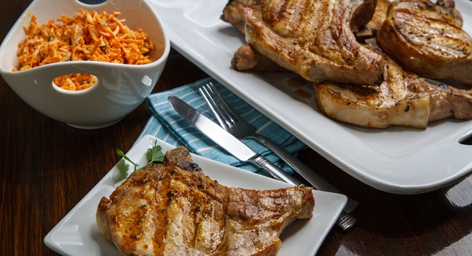 Spice-Crusted Pork Chops with Buttermilk Carrot Slaw