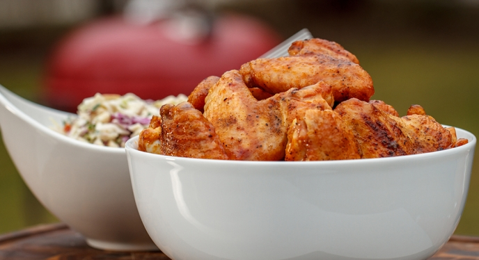 Buffalo Chicken Wings with Creamy Blue Cheese and Apple Slaw