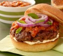 Image of Lamb Burgers with Roasted Chile Sauce and Fresh Mint