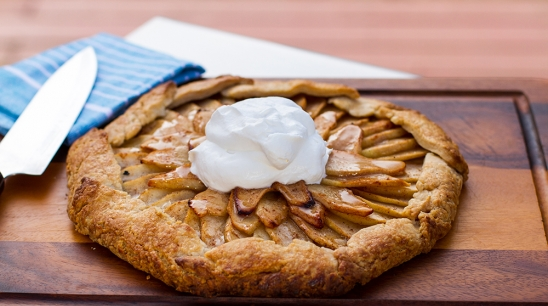 Grilled Apple Galette with Calvados Whipped Cream