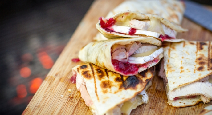 Grilled Turkey, Brie, & Cranberry Quesadillas