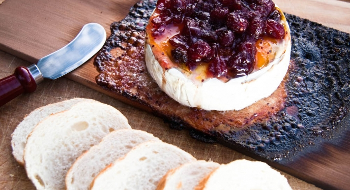 Cedar Planked Brie with Smoked Onion Cranberry Chutney