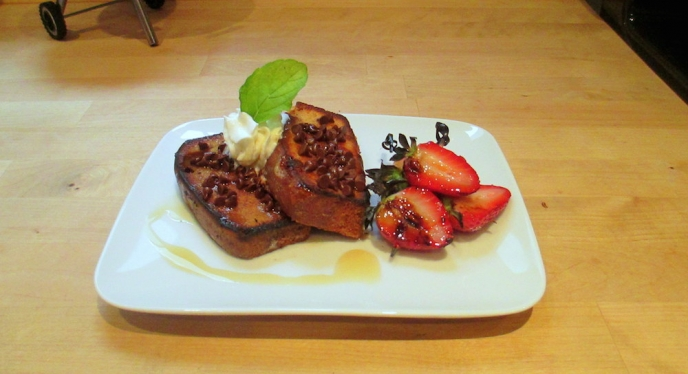 Mother's Day Brunch- Chocolate French Toast With Grilled Strawberries