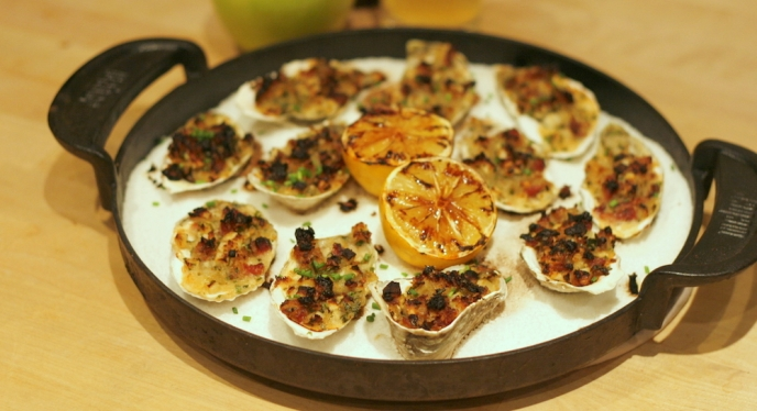 Apple Bacon Roasted Oysters