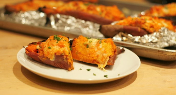 Double Stuffed Sweet Potatoes With Smoked Cheddar And Maple