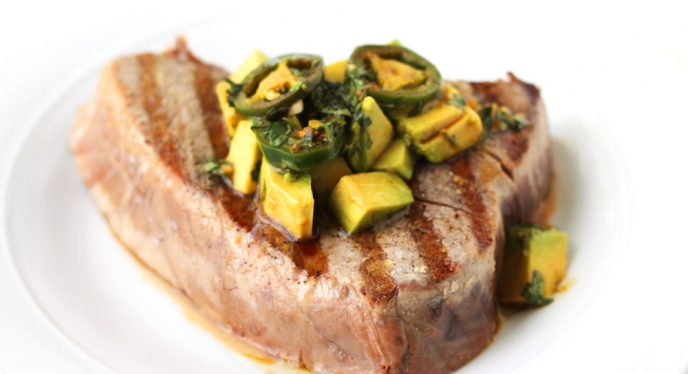 Grilled Tuna With Avocado And Ginger-Soy Vinaigrette