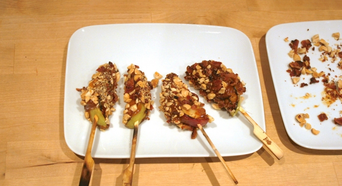 Caramel Bacon Apple Skewers
