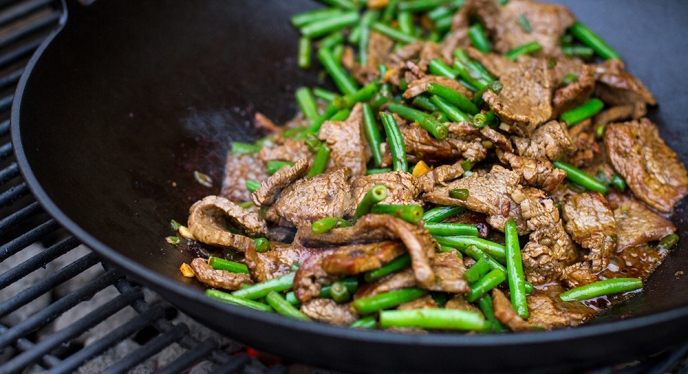 Stir-Fried Flank Steak with Green Beans, Garlic, and Chilies