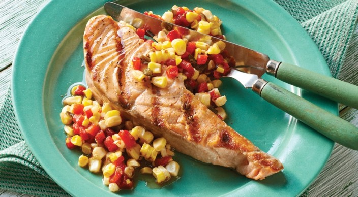 Image of Salmon Steaks with Fire-Roasted Corn Chowchow