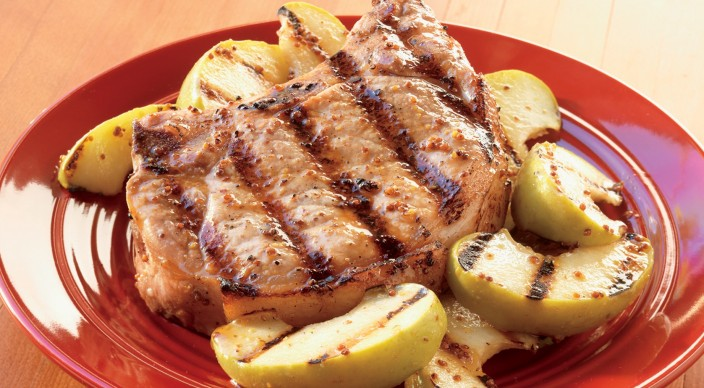 Image of Whiskey-Mustard Pork Chops with Grilled Apples